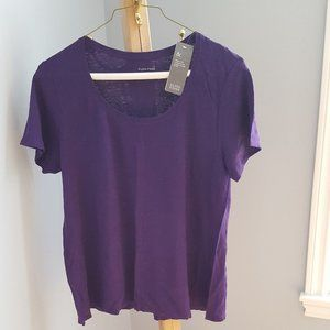 NWT Eileen Fisher purple linen t-shirt